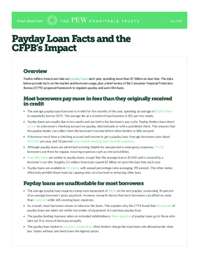 Payday Loan Facts and the CFPB's Impact