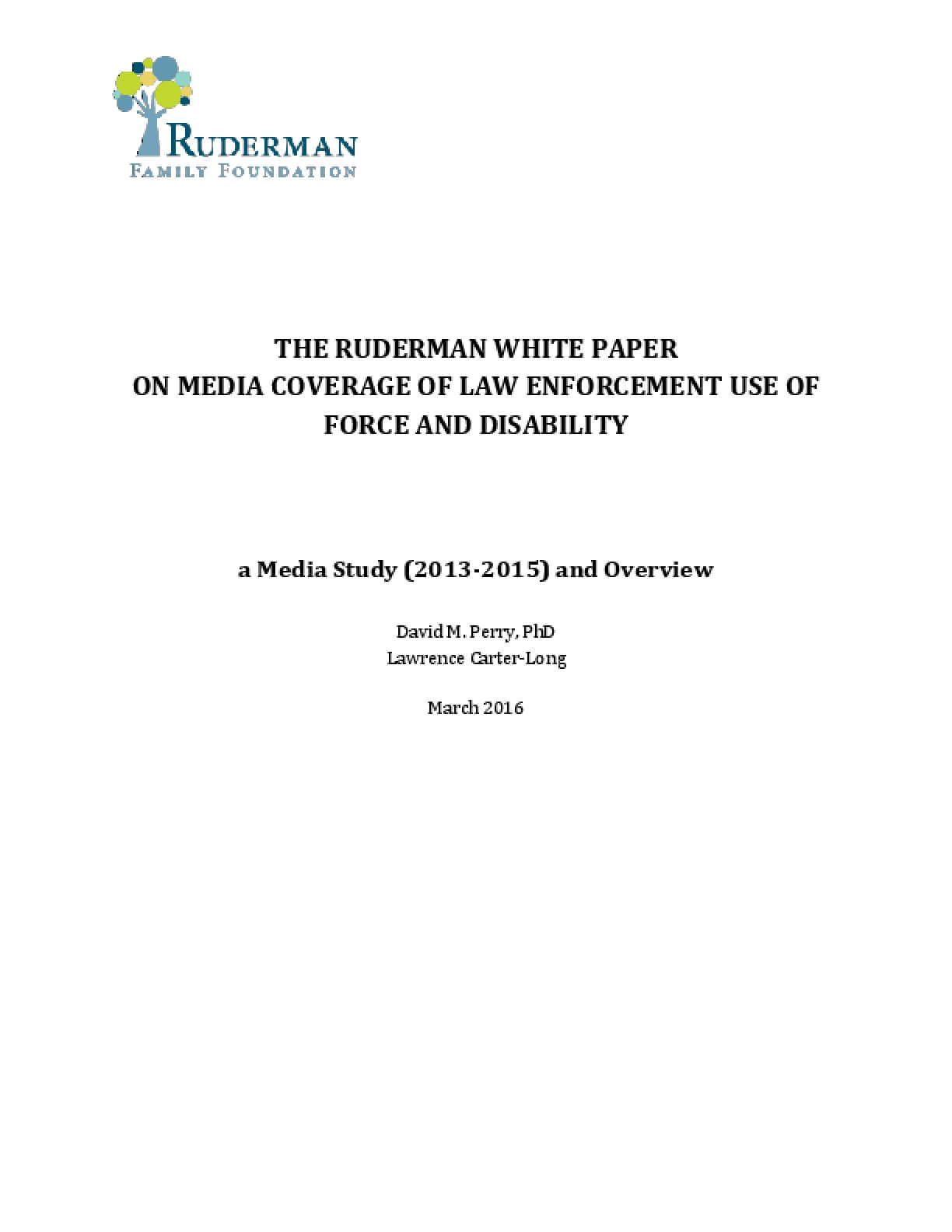 Media Coverage of Law Enforcement Use of Force and Disability