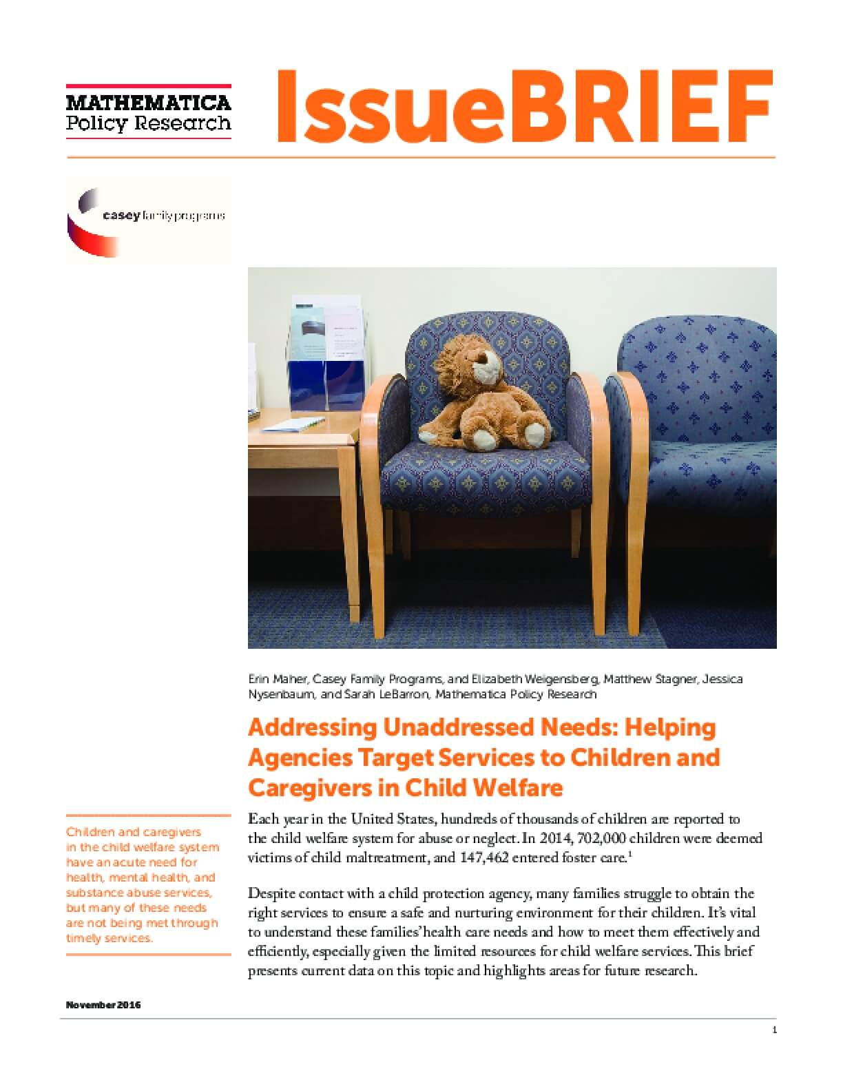 Addressing Unaddressed Needs: Helping Agencies Target Services to Children and Caregivers in Child Welfare