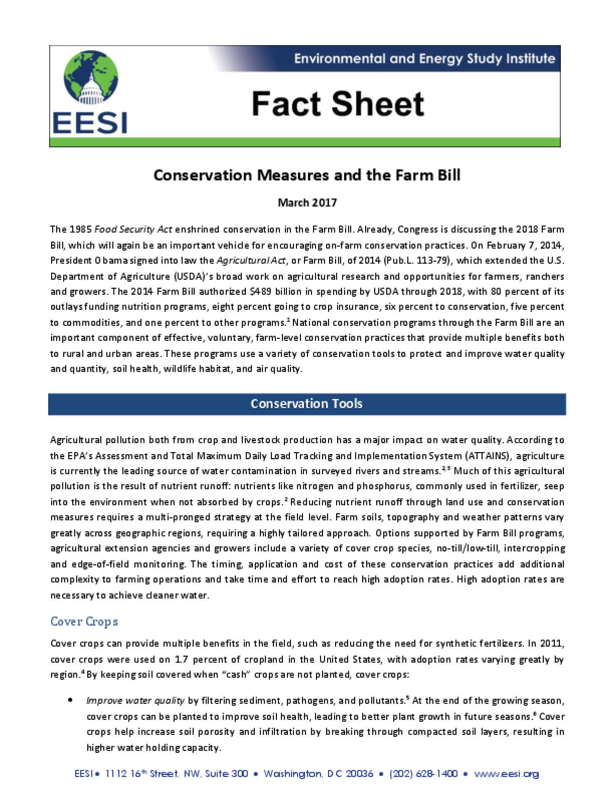 Fact Sheet: Conservation Measures and the Farm Bill