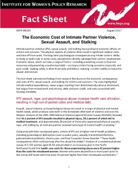 The Economic Cost of Intimate Partner Violence, Sexual Assault, and Stalking