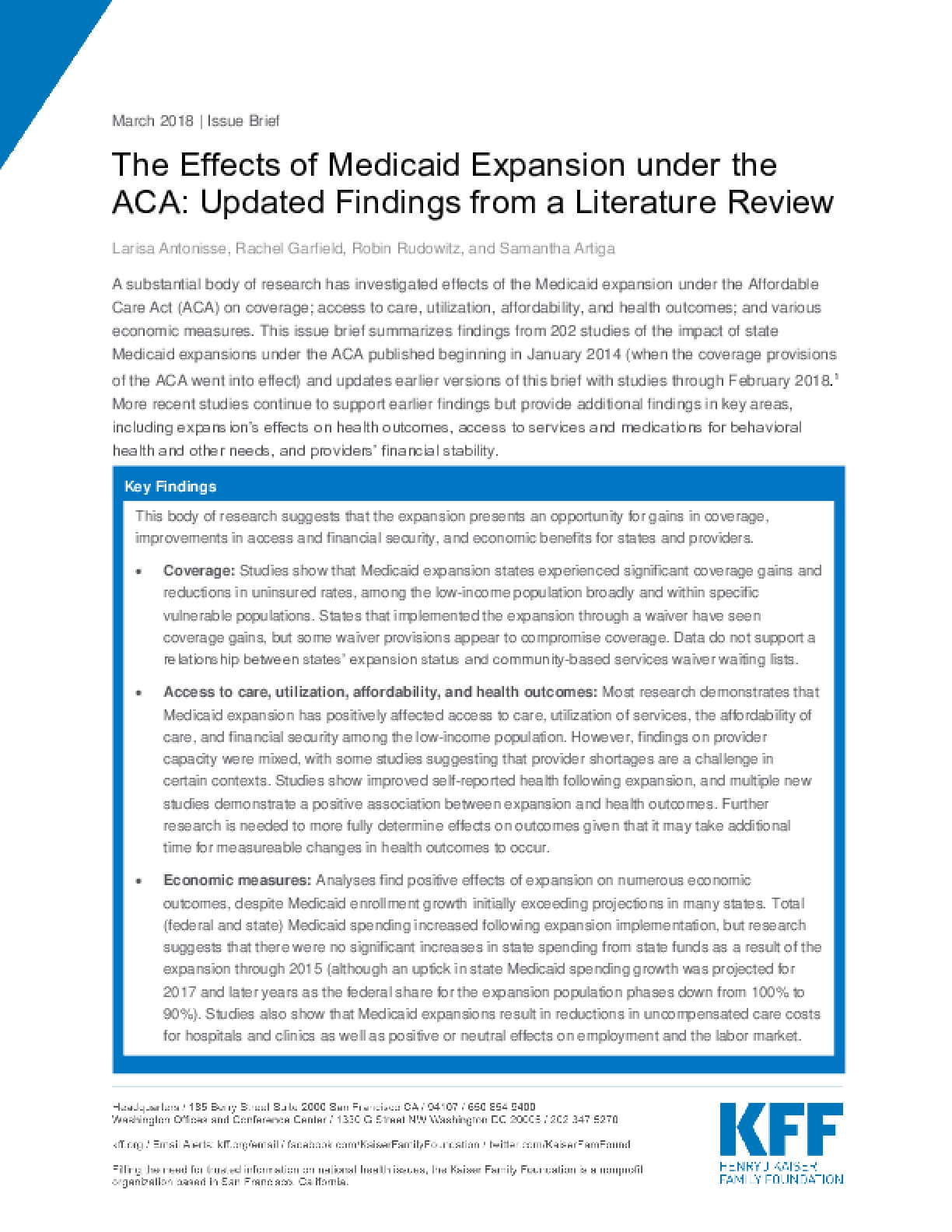 The Effects of Medicaid Expansion under the ACA: Updated Findings from a Literature Review