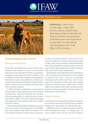 IFAW CITES Briefing Sheet - African Lion