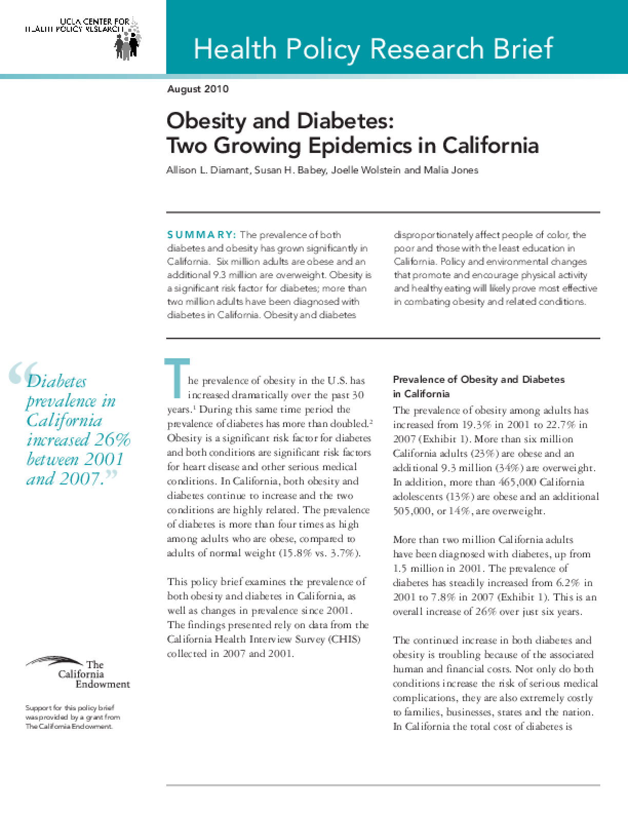 Obesity and Diabetes: Two Growing Epidemics in California