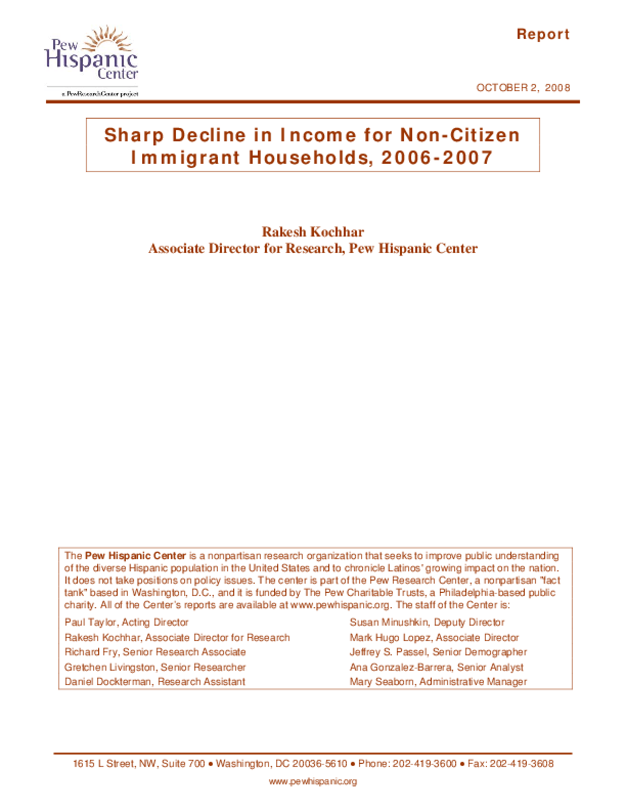 Sharp Decline in Income for Non-Citizen Immigrant Households, 2006-2007