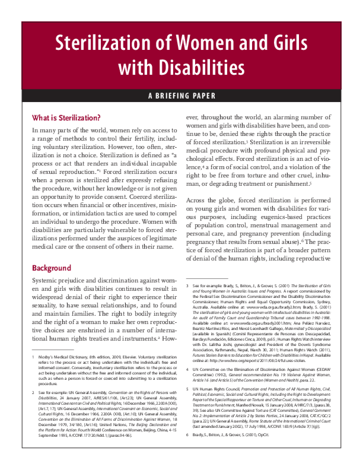 Sterilization of Women and Girls With Disabilities