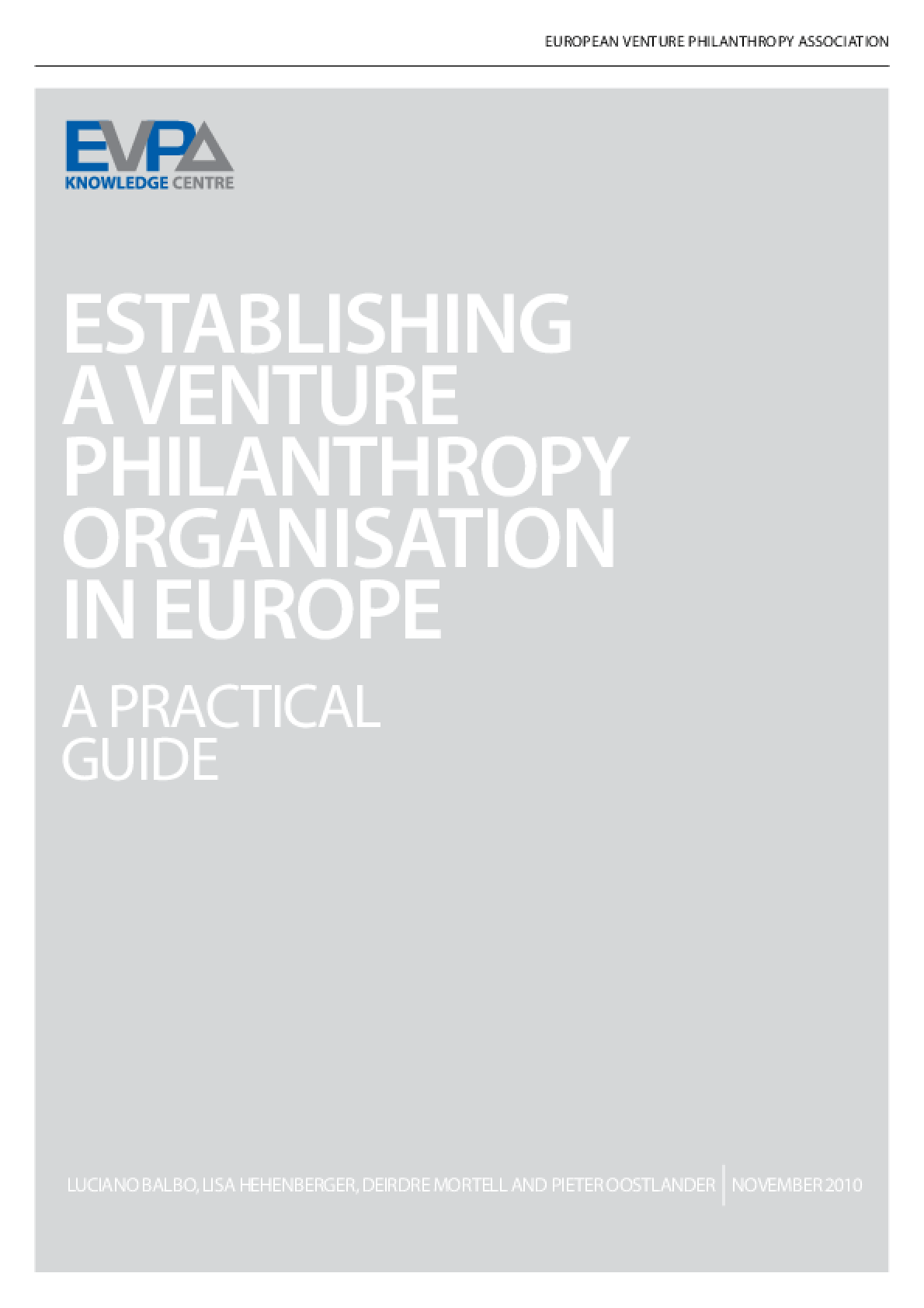 Establishing a Venture Philanthropy Organisation in Europe
