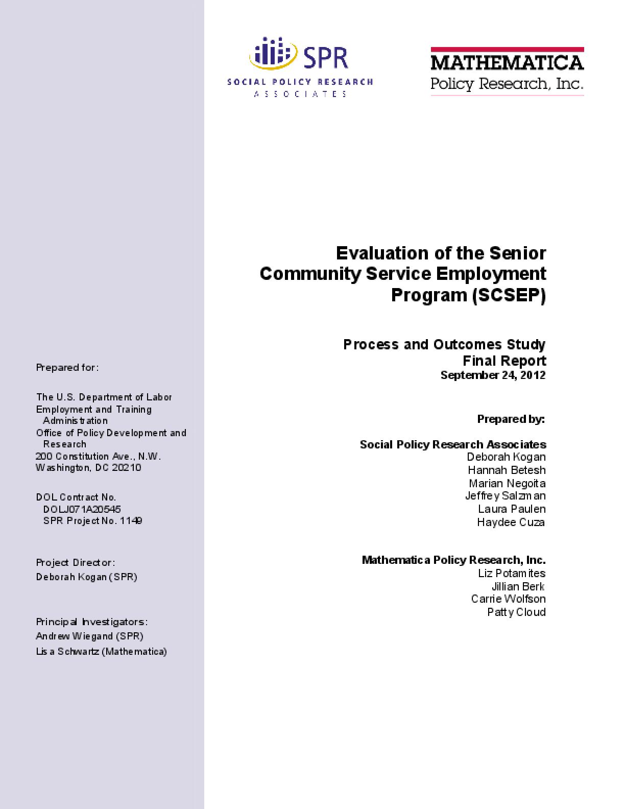Evaluation of the Senior Community Service Employment Program (SCSEP)