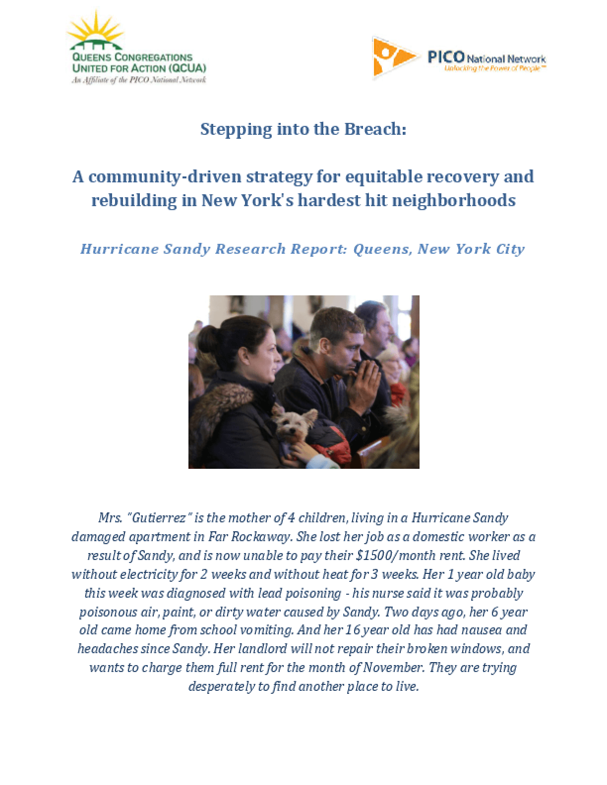 Stepping into the Breach: A Community-Driven Strategy for Equitable Recovery and Rebuilding in New York's Hardest Hit Neighborhoods