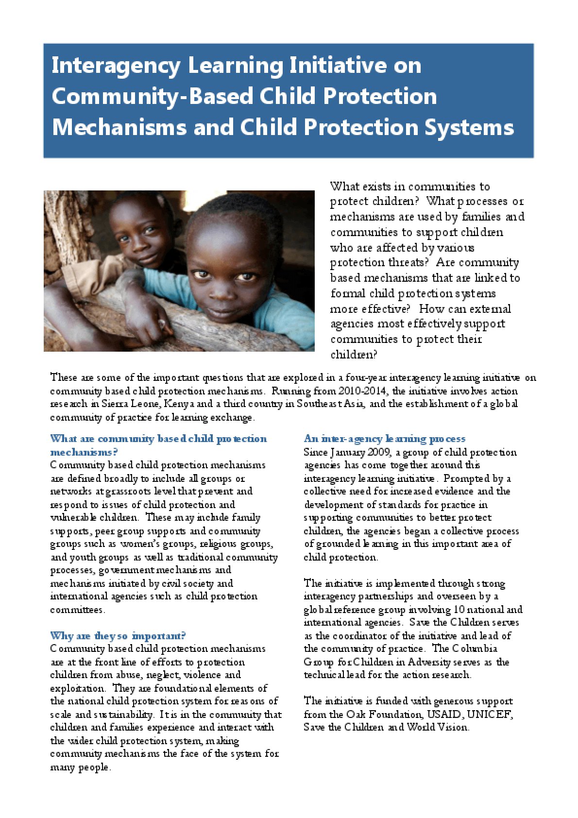 Interagency Learning Initiative on Community-Based Child Protection Mechanisms and Child Protection Systems