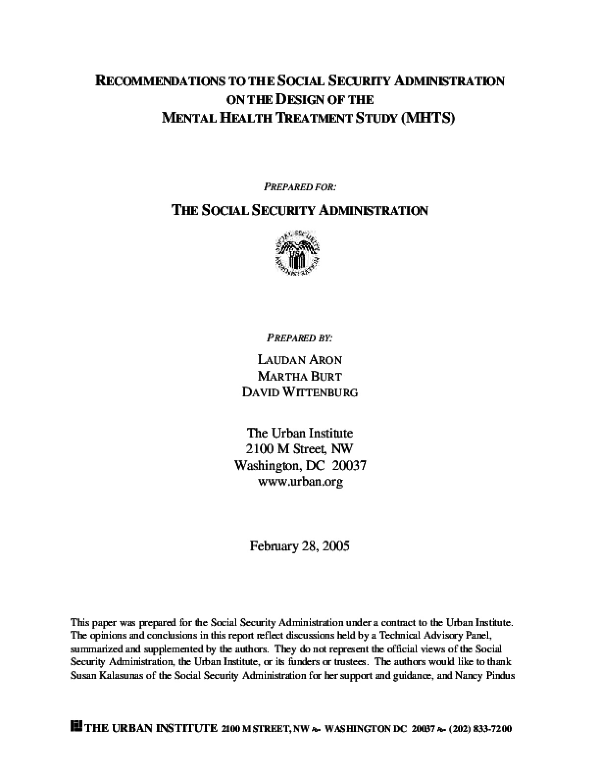 Recommendations to the Social Security Administration on the Design of the Mental Health Treatment Study