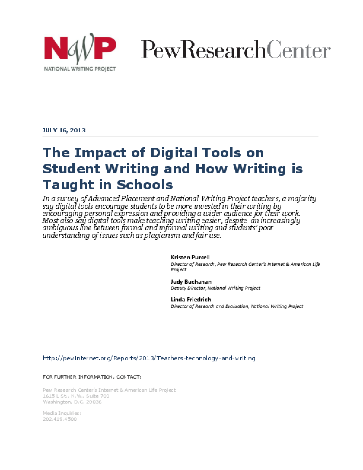 The Impact of Digital Tools on Student Writing and How Writing is Taught in Schools