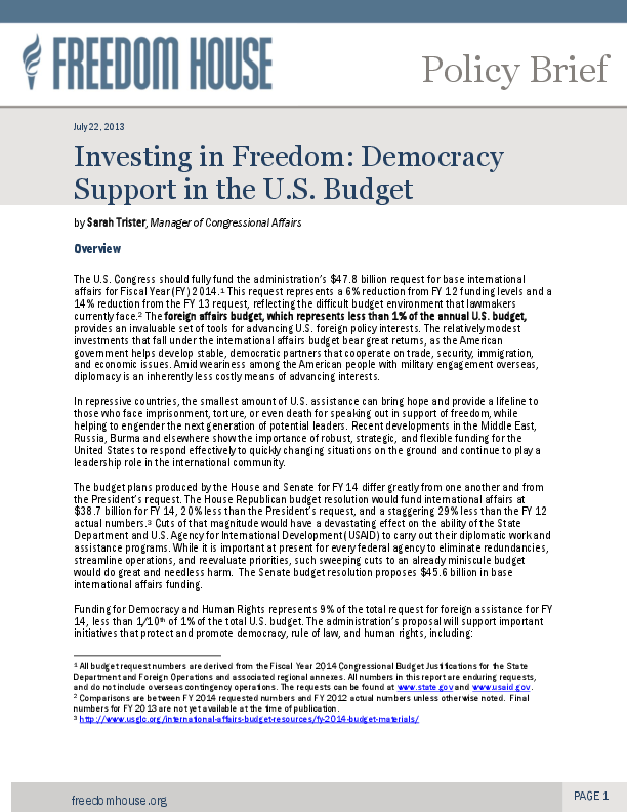 Investing in Freedom: Democracy Support in the U.S. Budget