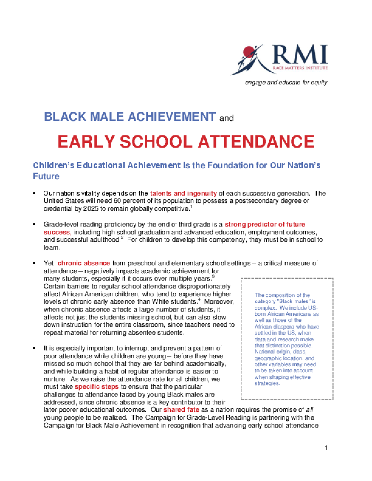 Black Male Achievement and Early School Attendance