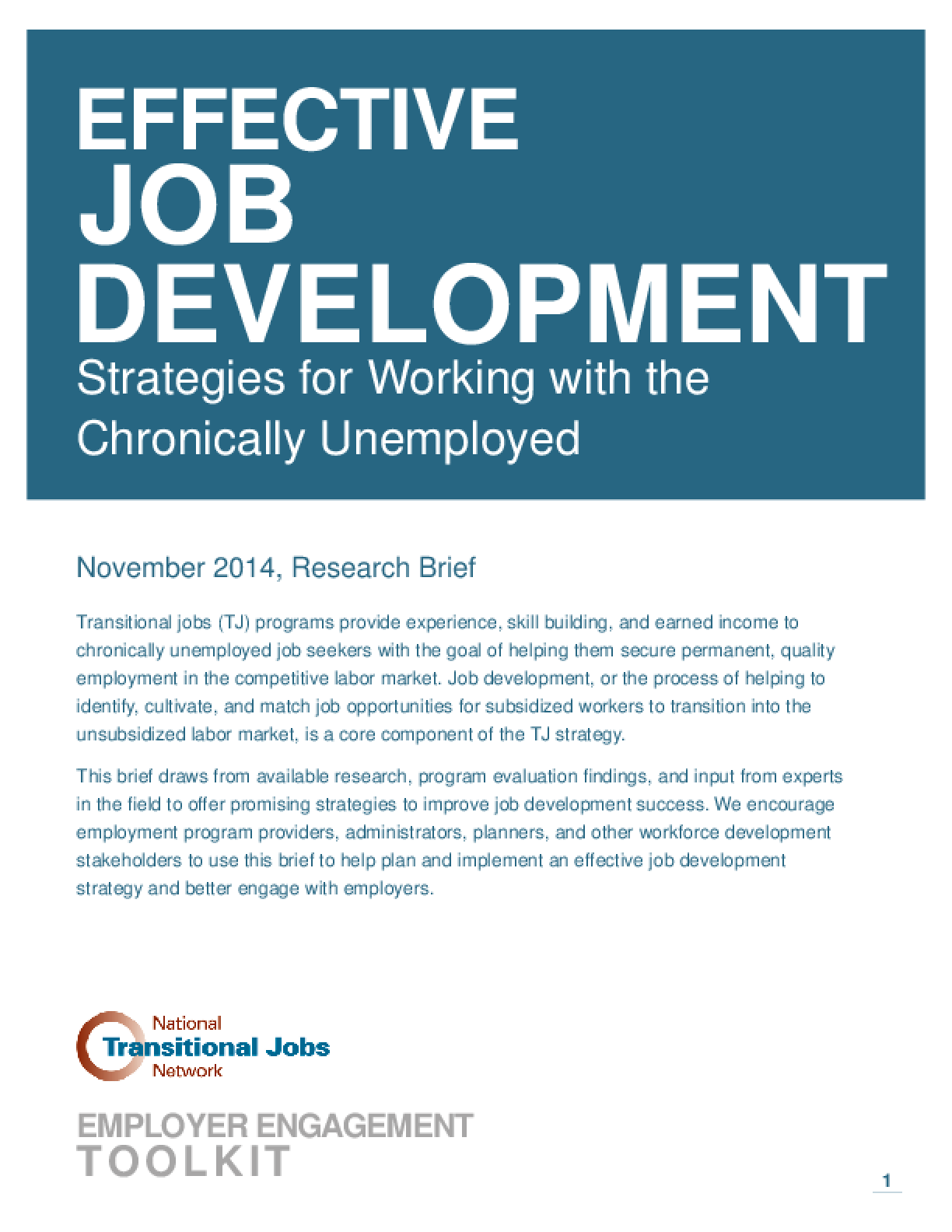 Effective Job Development: Strategies for Working with the Chronically Unemployed