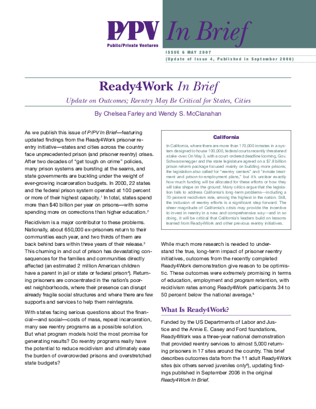 Ready4Work In Brief: Update on Outcomes; Reentry May Be Critical for States, Cities