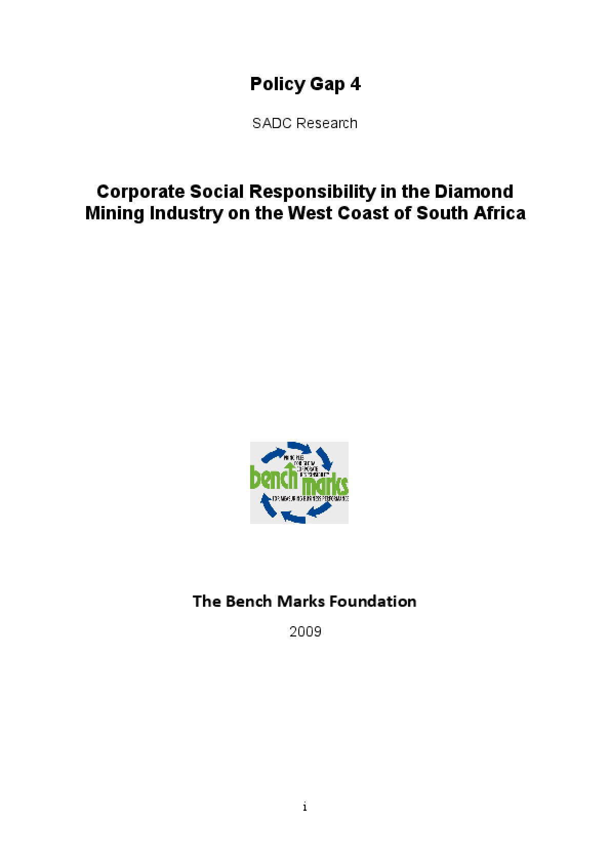 Corporate Social Responsibility in the Diamond Mining Industry on the West Coast of South Africa