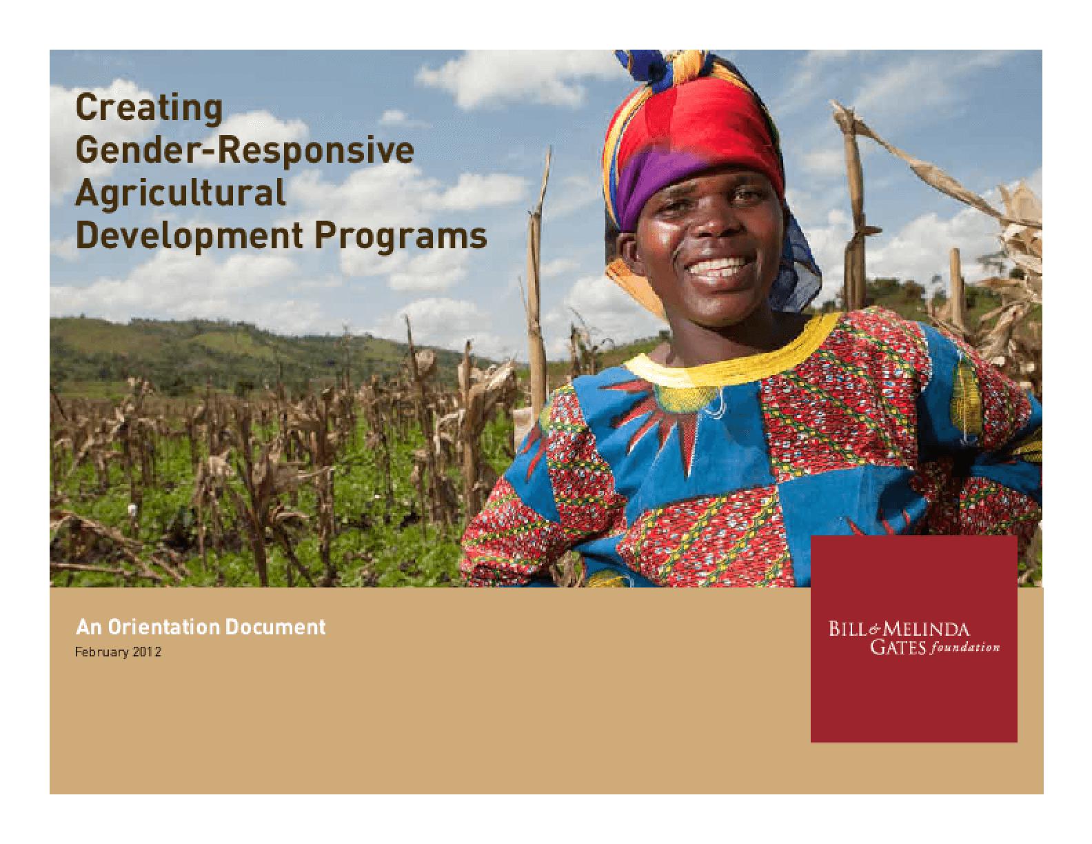Creating Gender-Responsive Agricultural Development Programs