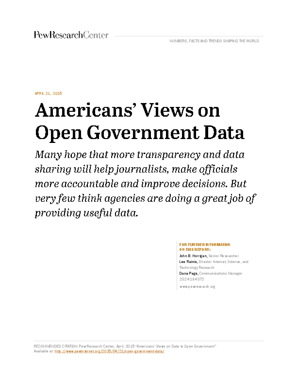 Americans' Views on Open Government Data
