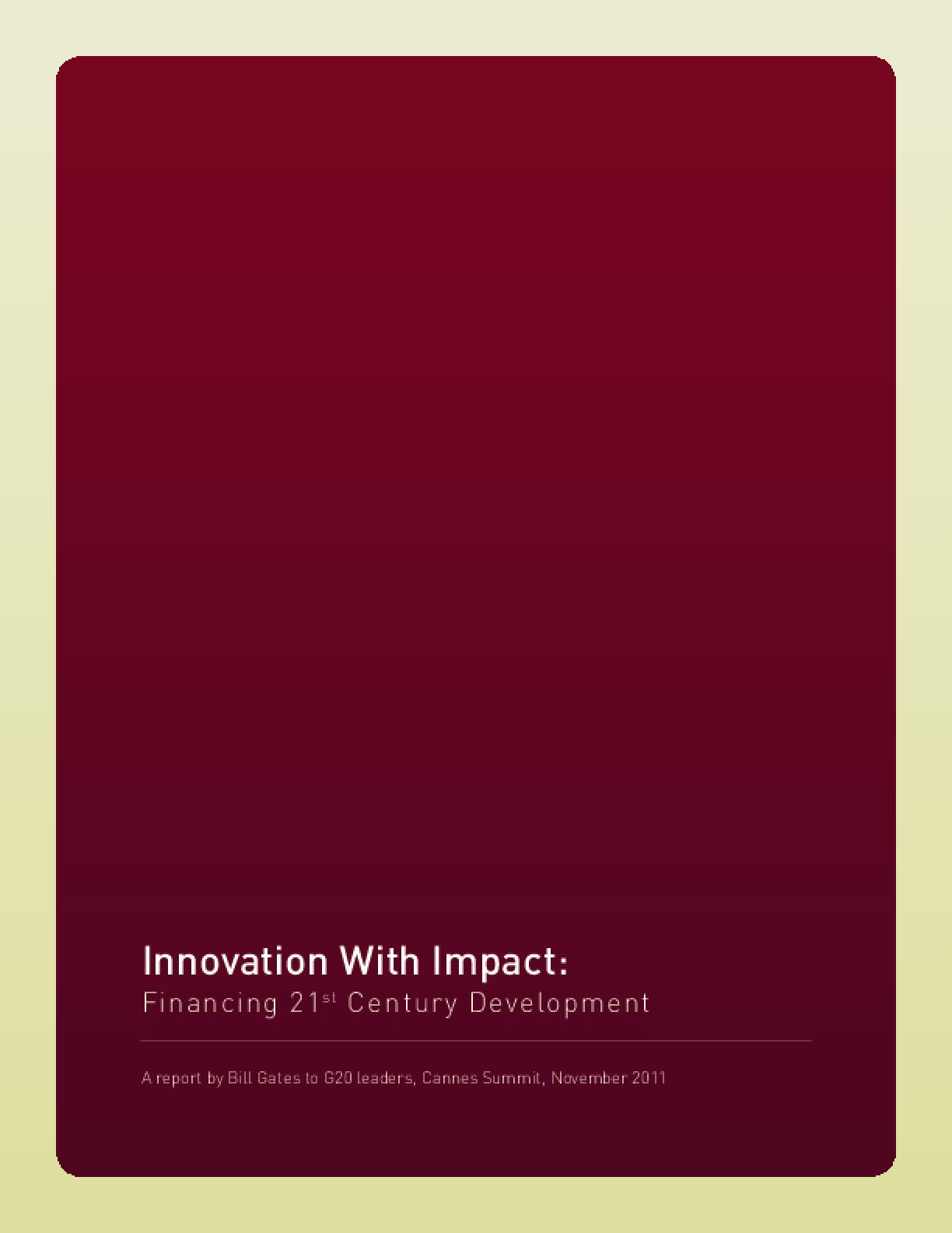 Innovation With Impact: Financing 21st Century Development
