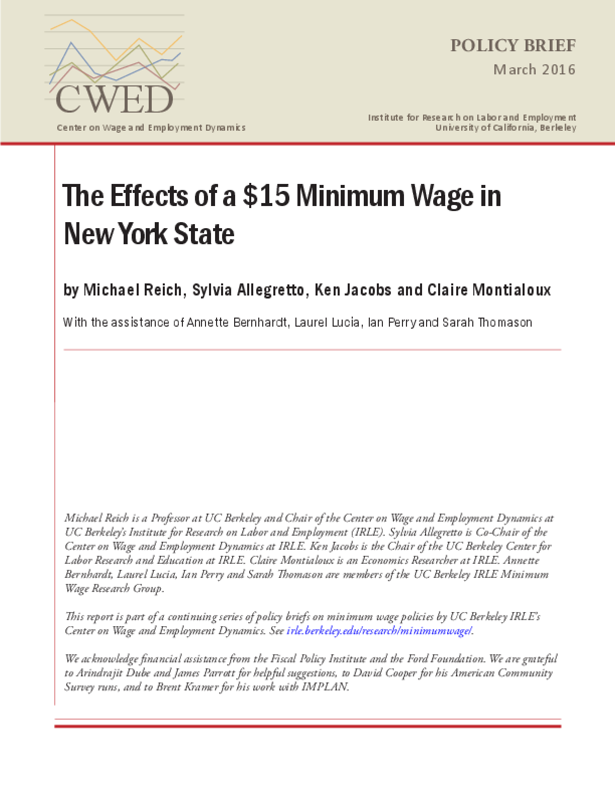 The Effects of a $15 Minimum Wage in New York State