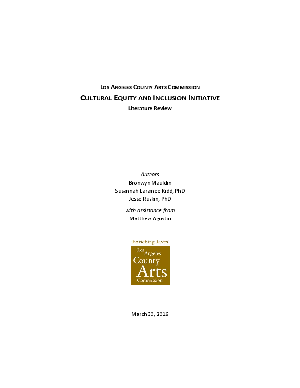 Los Angeles County Arts Commission Cultural Equity and Inclusion Initiative Literature Review