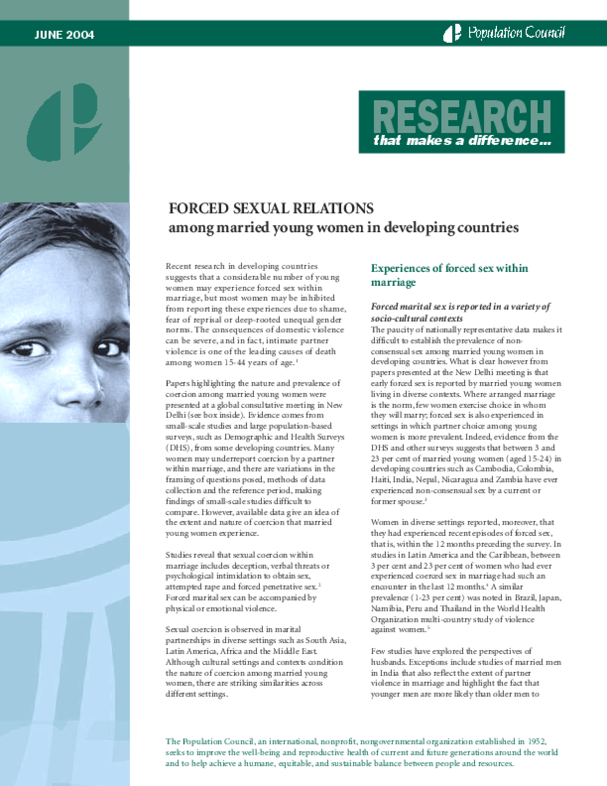 Forced Sexual Relations Among Young Women in Developing Countries