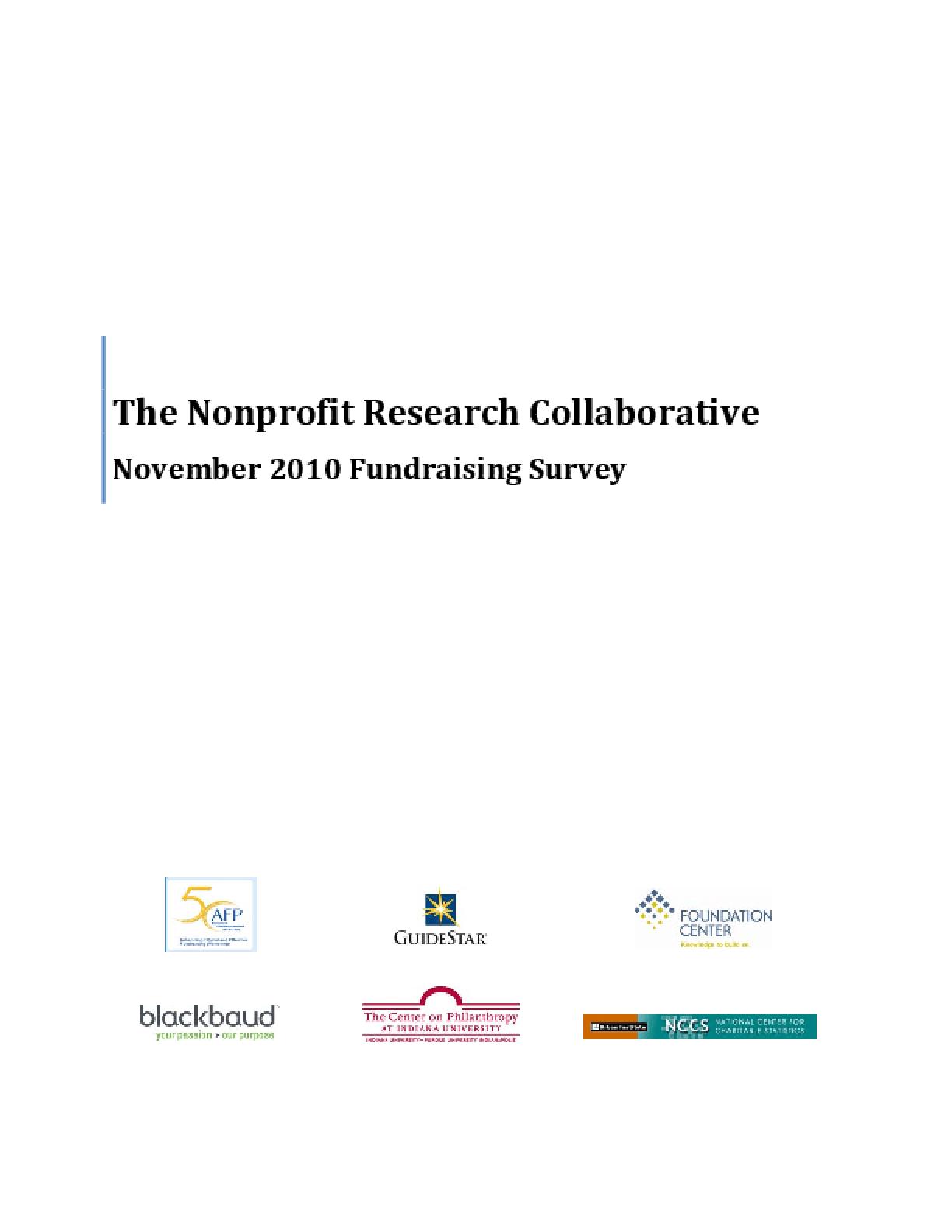 The Nonprofit Research Collaborative: November 2010 Fundraising Survey