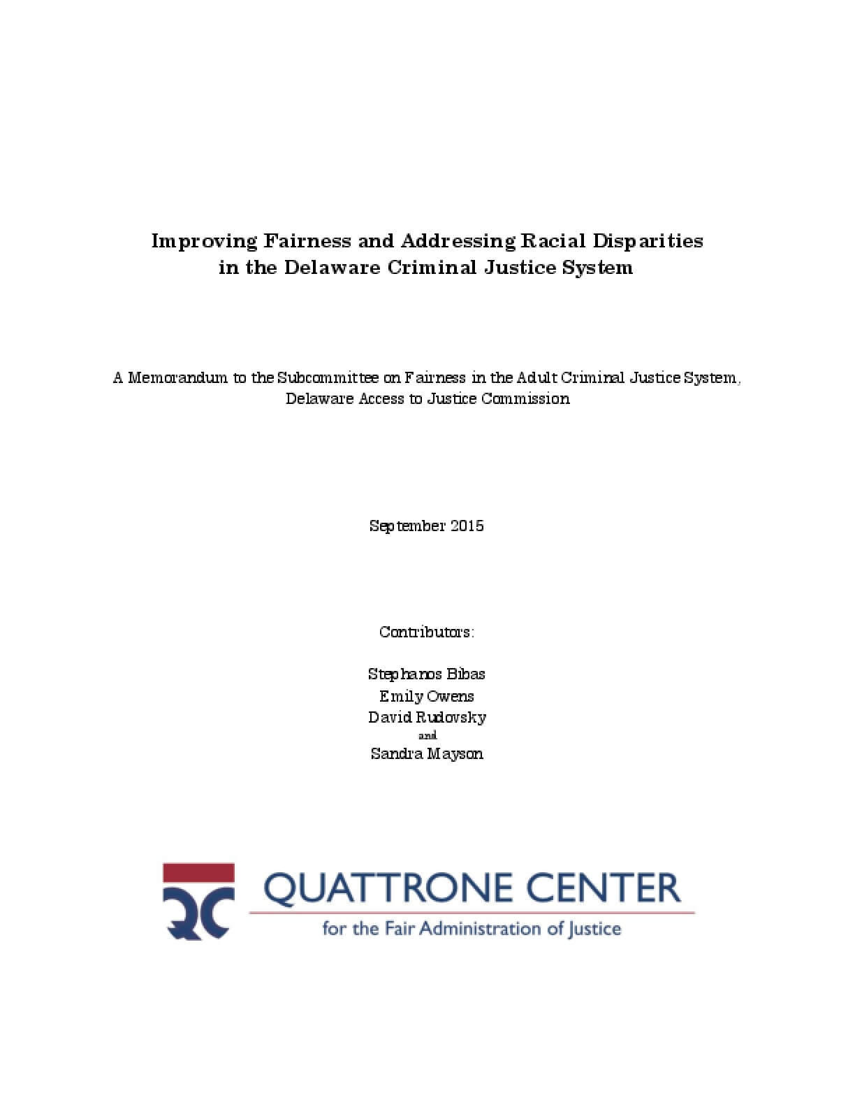 Improving Fairness and Addressing Racial Disparities in the Delaware Criminal Justice System
