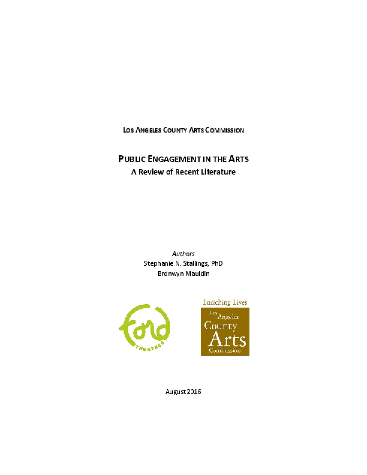Los Angeles County Arts Commission: Public Engagement in the Arts - A Review of Recent Literature