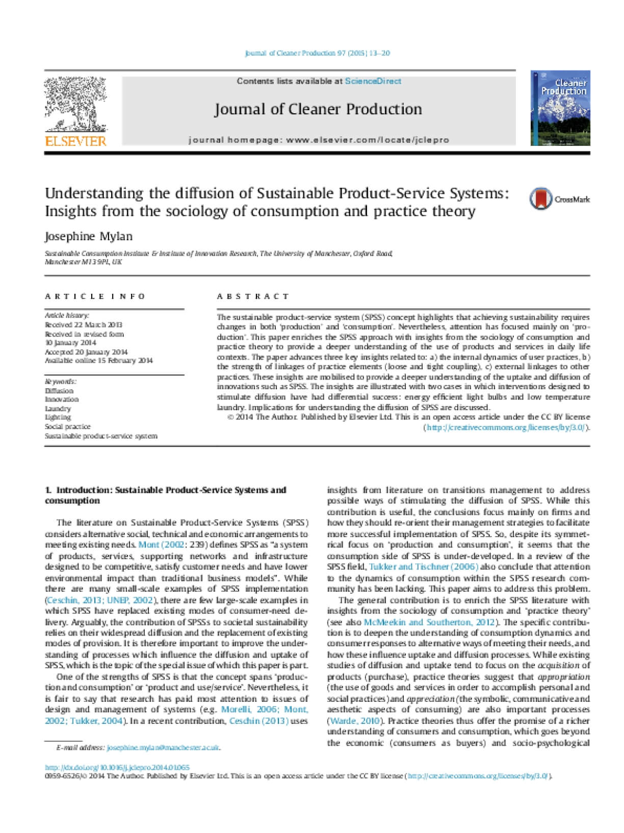Understanding the Diffusion of Sustainable Product-Service Systems: Insights From the Sociology of Consumption and Practice Theory