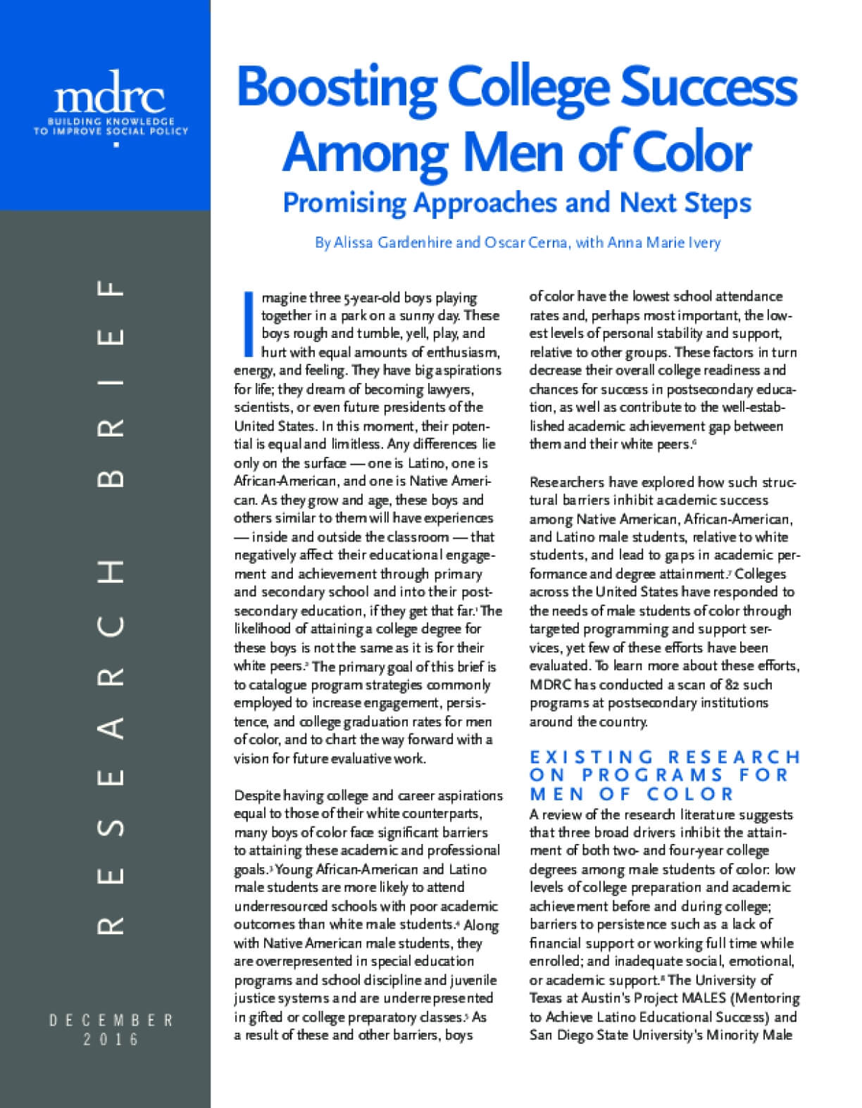 Boosting College Success Among Men of Color