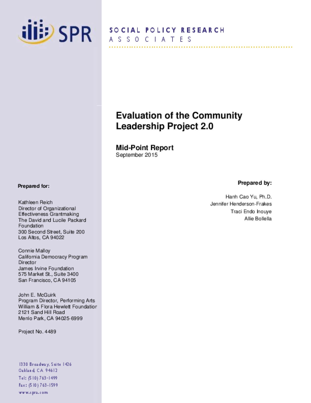 Evaluation of the Community Leadership Project 2.0: Midpoint Report