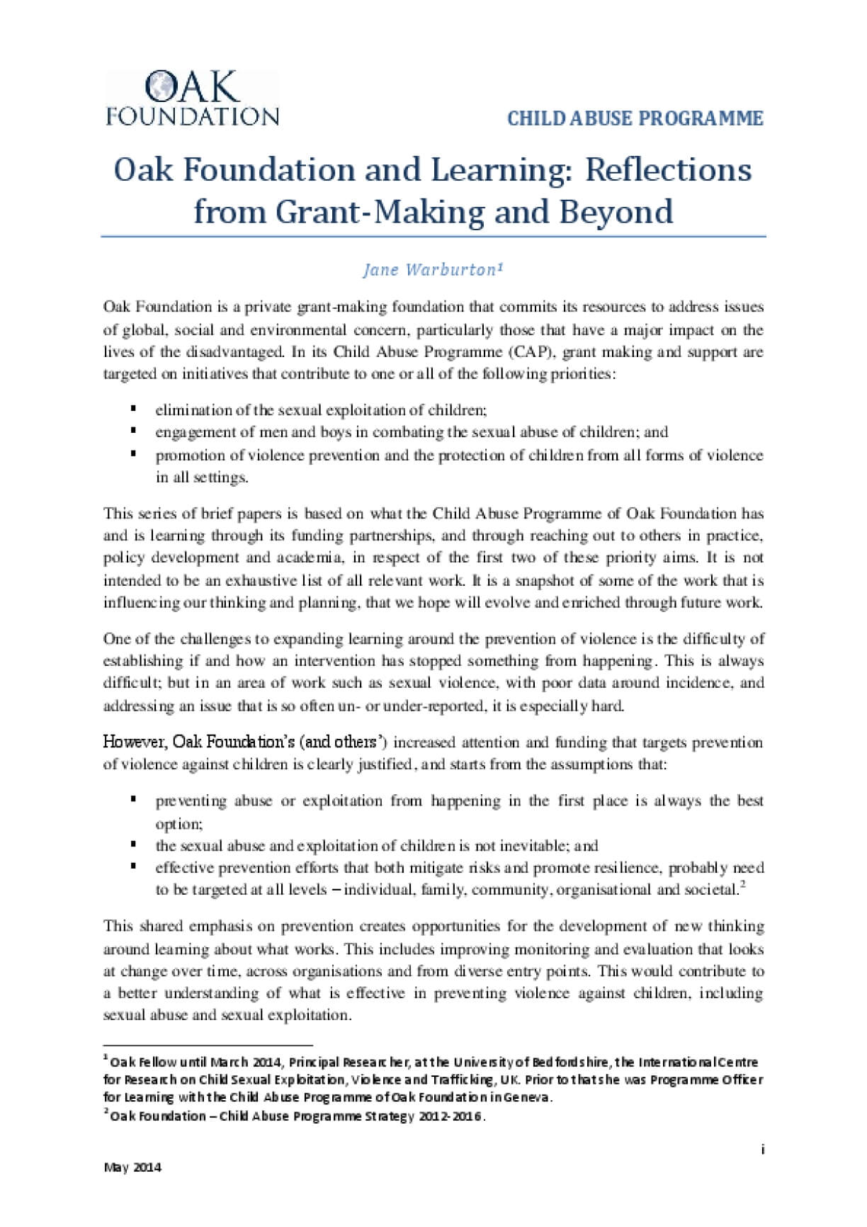 Child Abuse Programme, Oak Foundation and Learning: Reflections from Grant-Making and Beyond