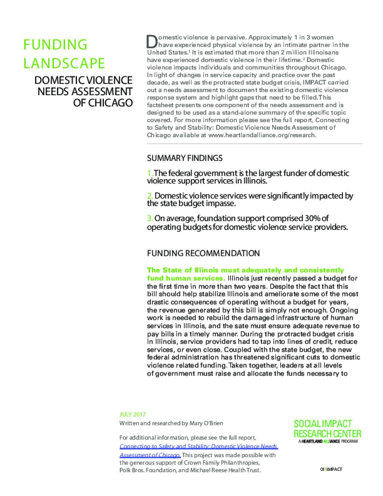 Factsheet: Funding Landscape (DV Landscape Report)
