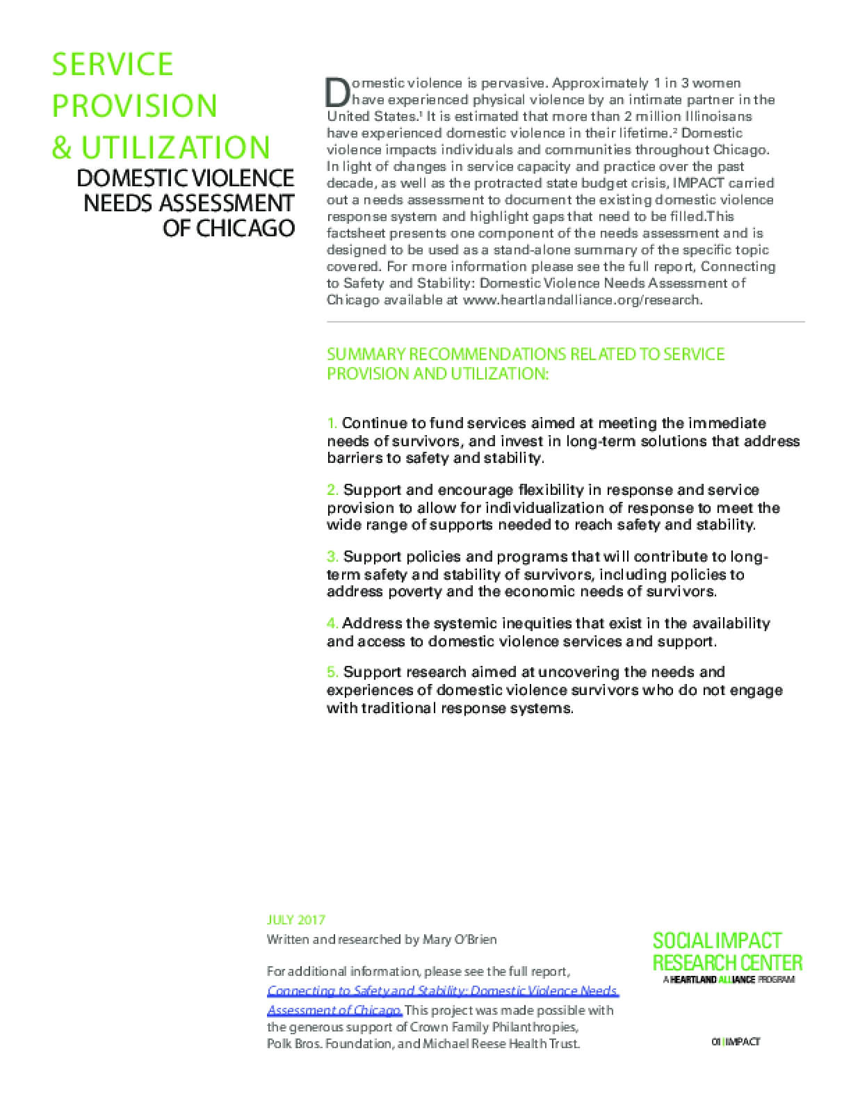 Factsheet: Service Provision and Utilization (DV Landscape Report)