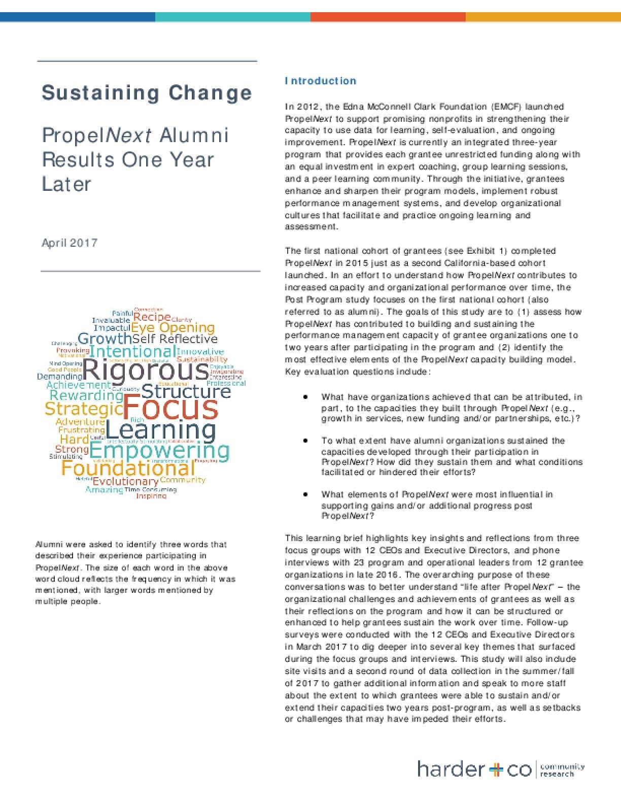 Sustaining Change: PropelNext Alumni Results One Year Later