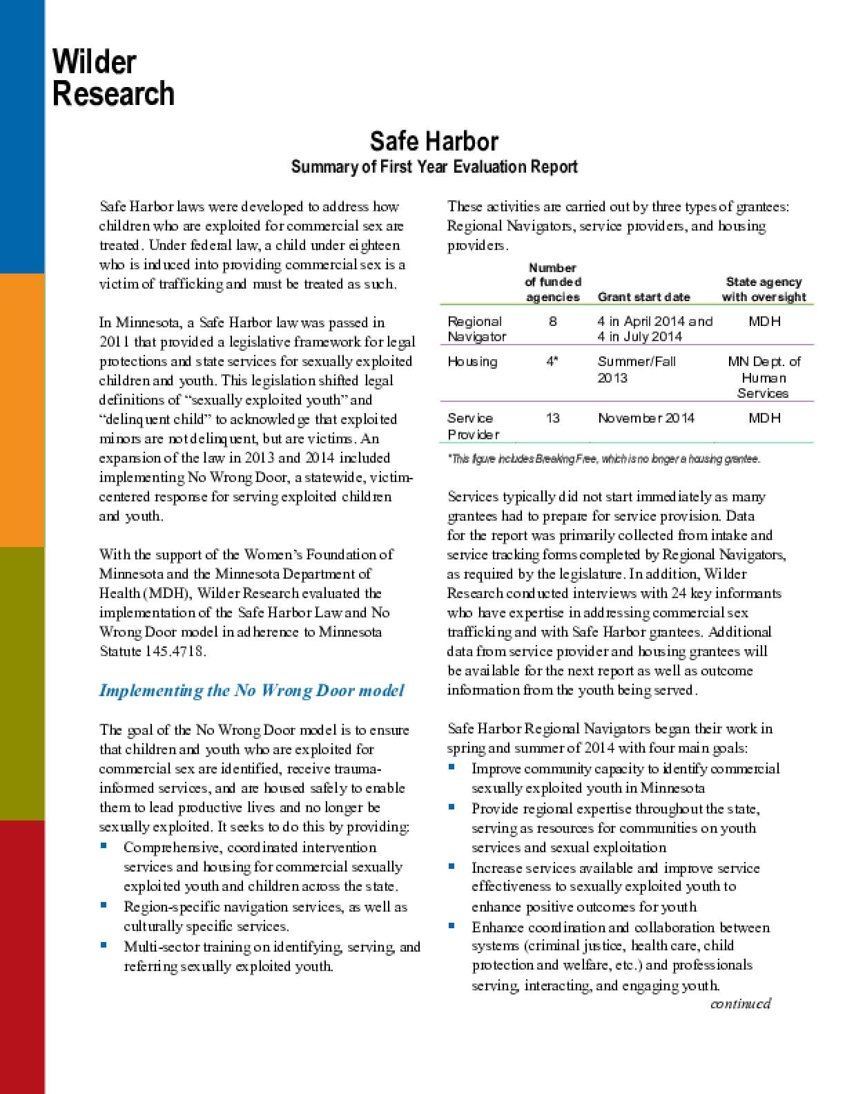 Safe Harbor: Summary of First Year Evaluation Report