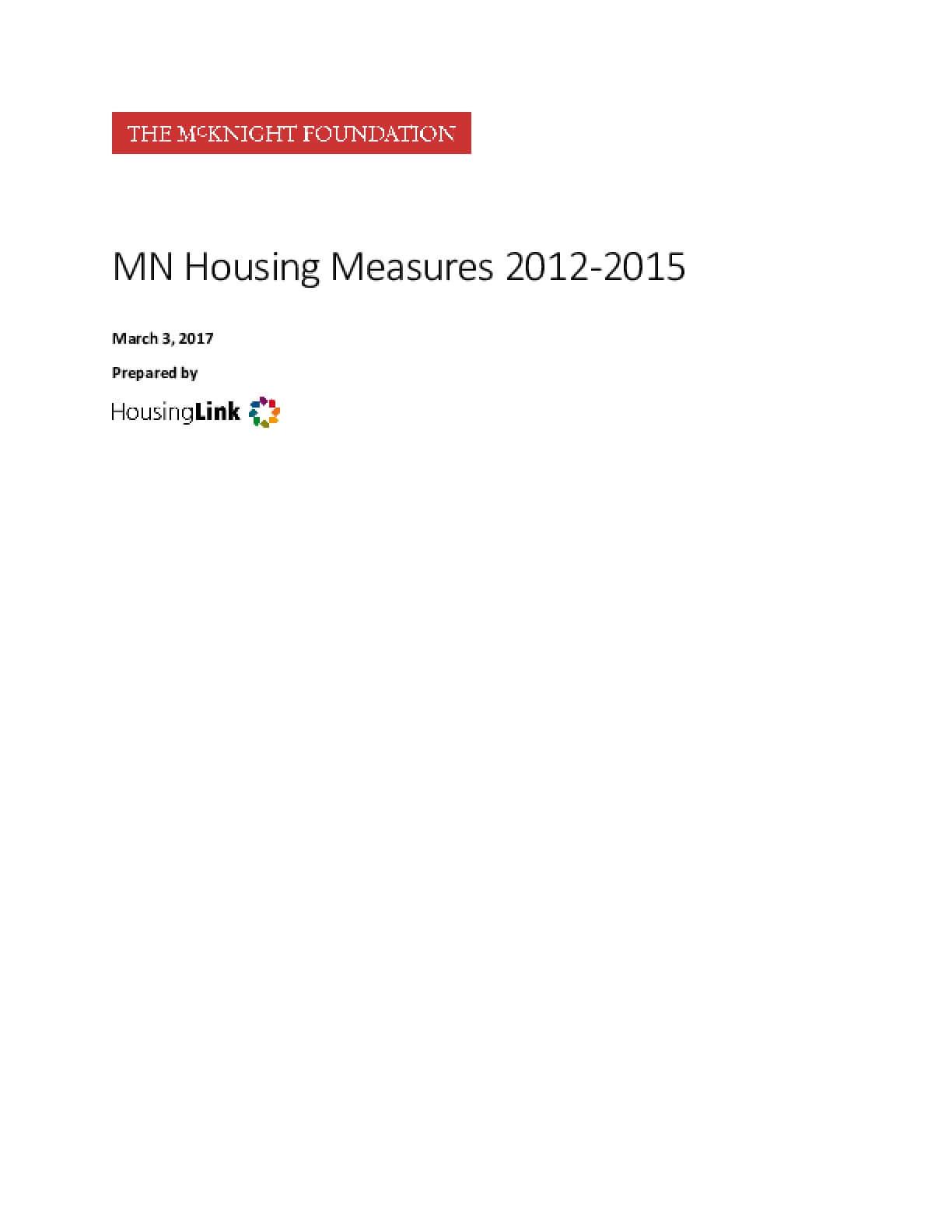 MN Housing Measures 2012-2015