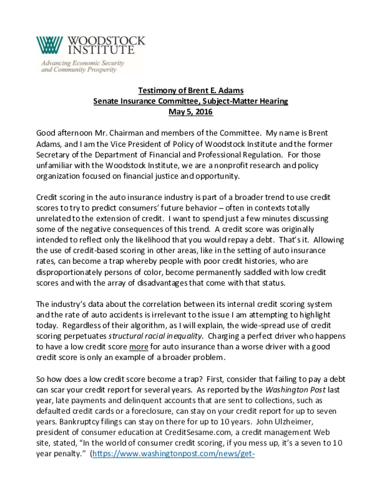 Testimony of Brent E. Adams before the Senate Insurance Committee, Subject-Matter Hearing