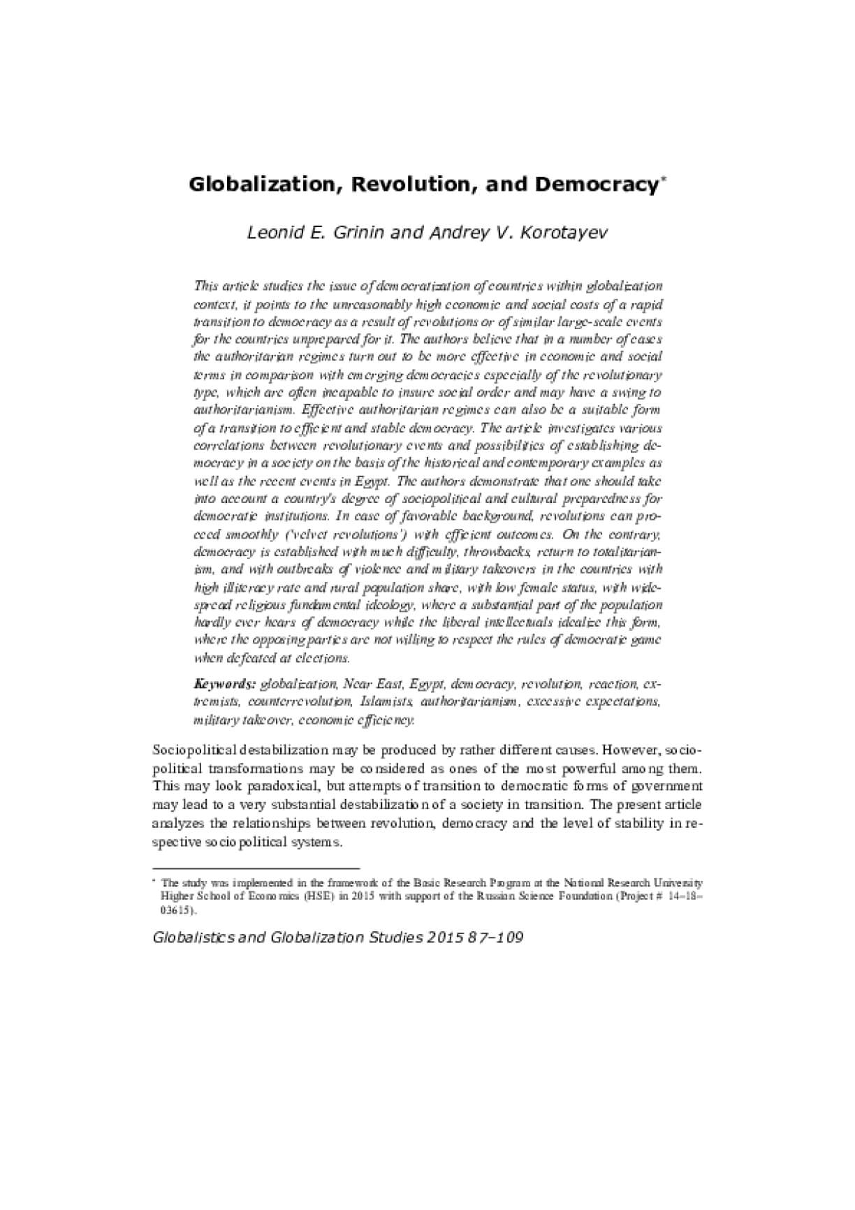 Globalization, Revolutions, and Democracy