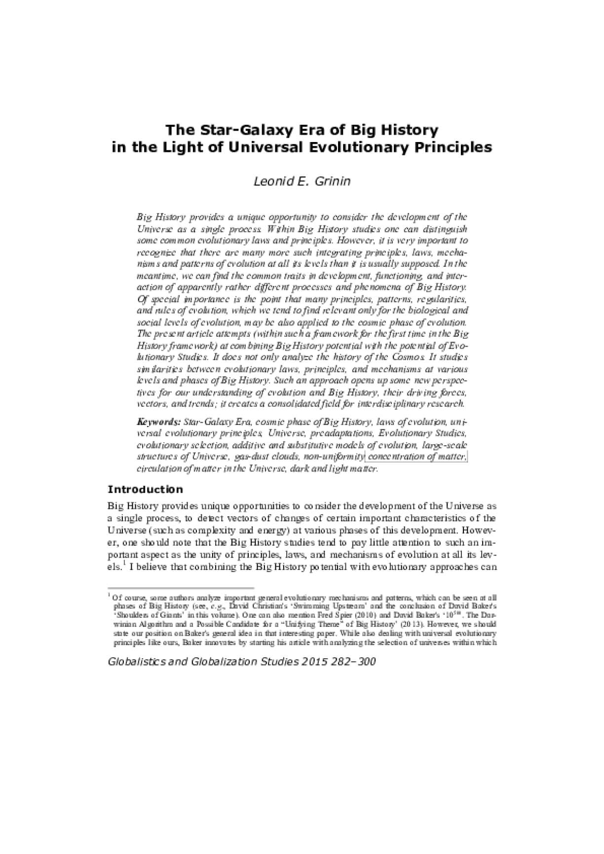The Star-Galaxy Era of Big History in the Light of Universal Evolutionary Principles