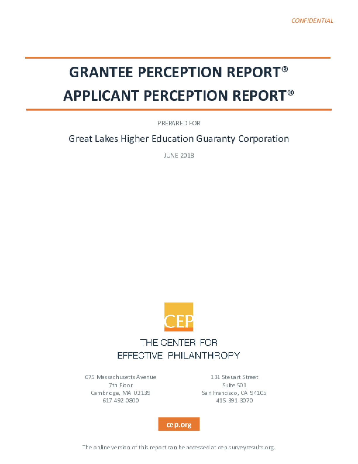 Grantee Perception Report for Great Lakes