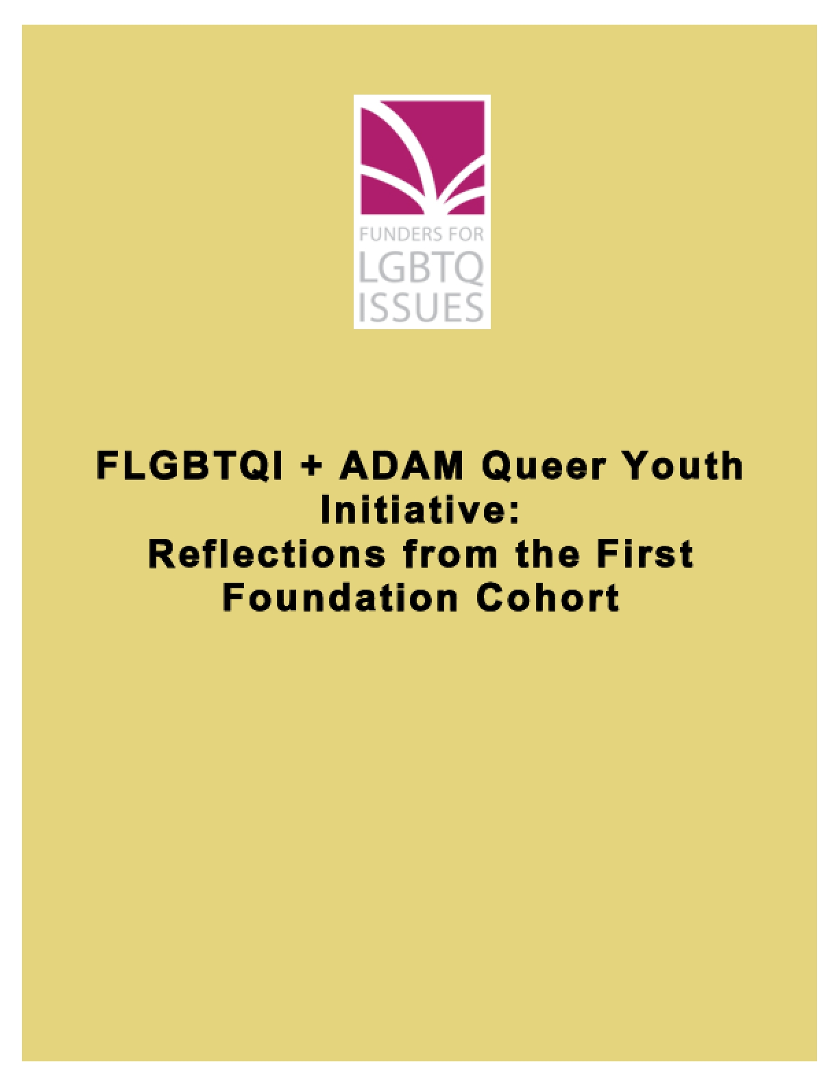 FLGBTQI + ADAM Queer Youth Initiative: Reflections from the First Foundation Cohort