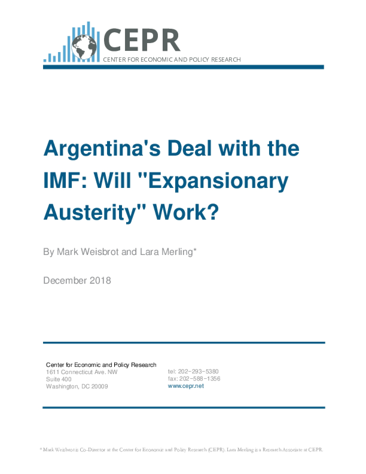 """Argentina's Deal with the IMF: Will """"Expansionary Austerity"""" Work?"""