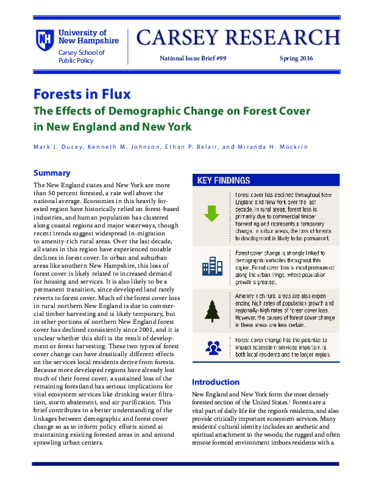 Forests in Flux: The Effects of Demographic Change on Forest Cover in New England and New York