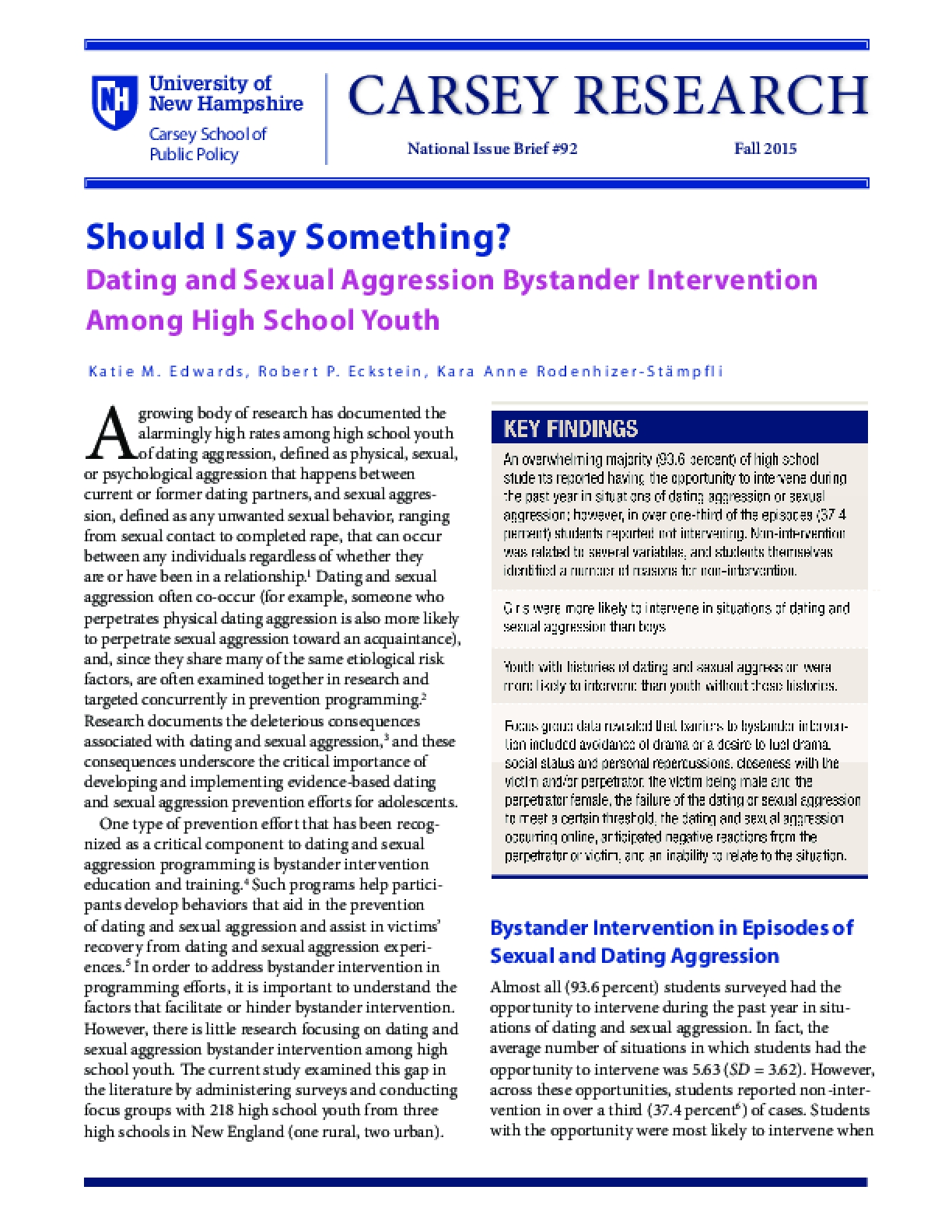 Should I Say Something?: Dating and Sexual Aggression Bystander Intervention Among High School Youth