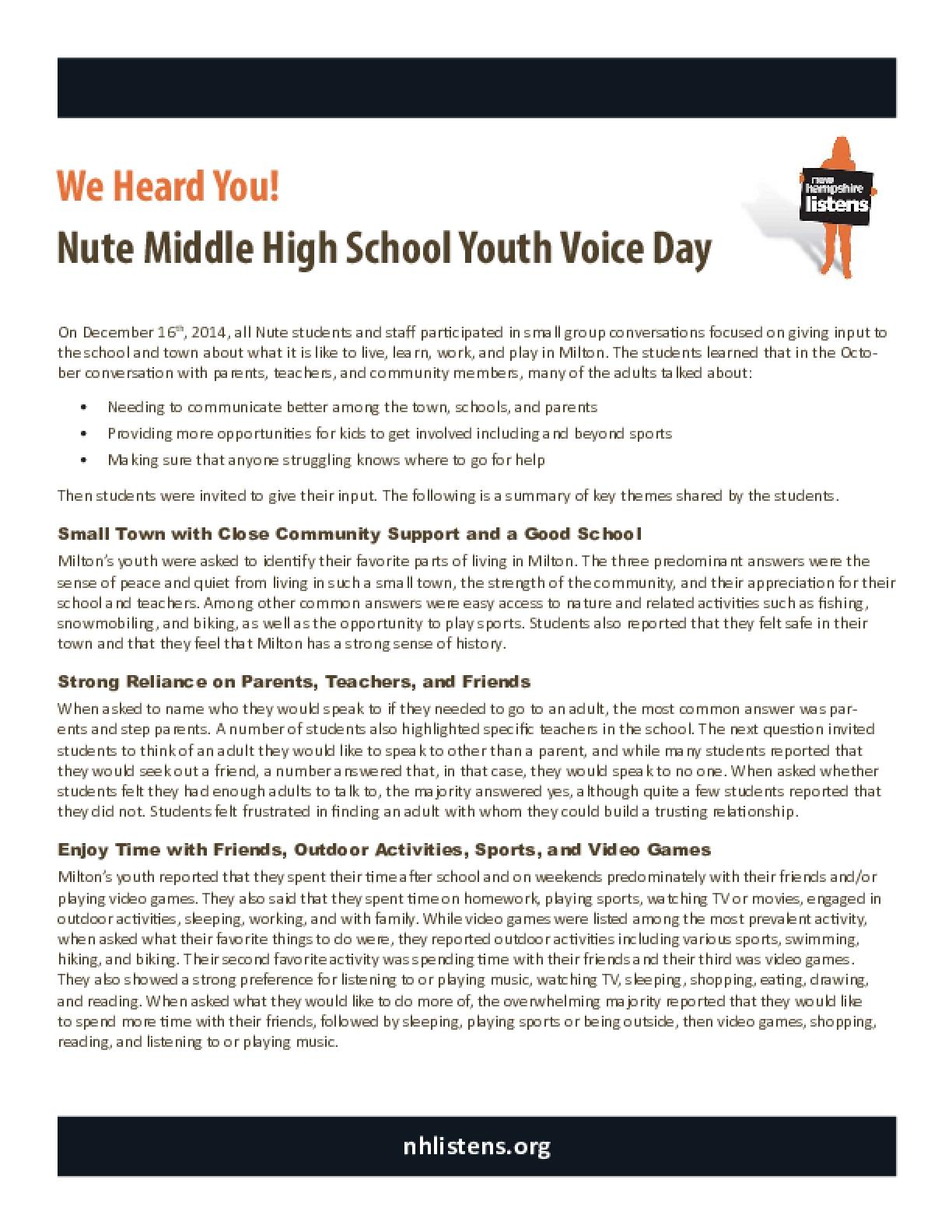 Milton Youth Voice Day Summary