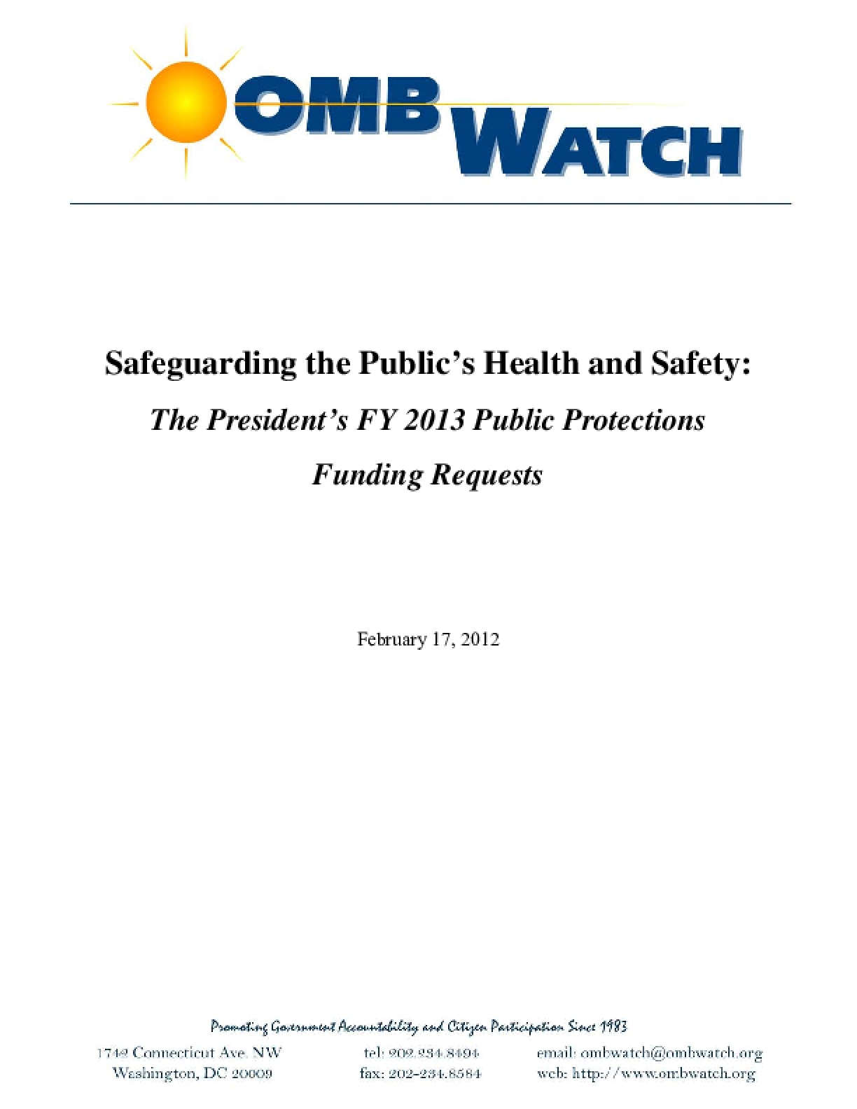Safeguarding the Public's Health and Safety: The President's FY 2013 Public Protections Funding Requests