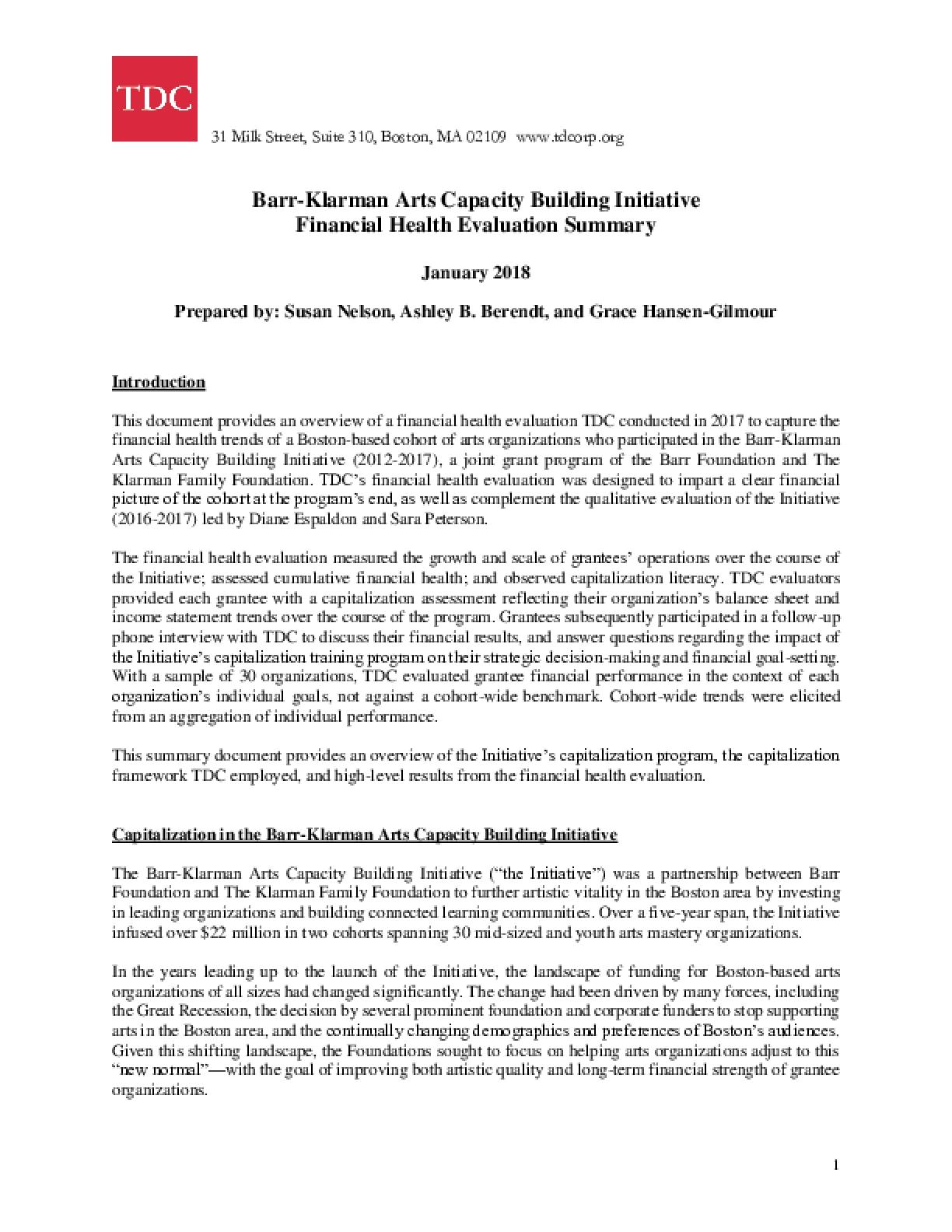 Barr-Klarman Arts Capacity Building Initiative Financial Health Evaluation Summary